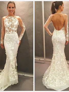Ericdress Sexy Long Sleeves Backless Mermaid Lace Wedding Dress