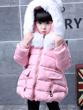 Ericdress Plain Hooded Pocket Girls Puffer Coat