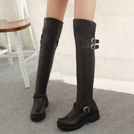 Ericdress PU Round Toe Buckles Thigh High Boots