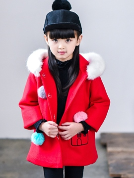 Ericdress Balls Hooded Pocket Girls Wool Coat