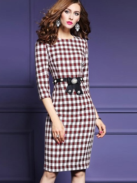 Ericdress Plaid Bead Patchwork Belt Sheath Dress