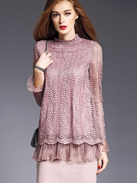 Ericdress Lace Crochet Peplum Loose Blouse
