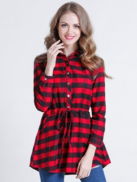 Ericdress Lace-Up Plaid Blouse