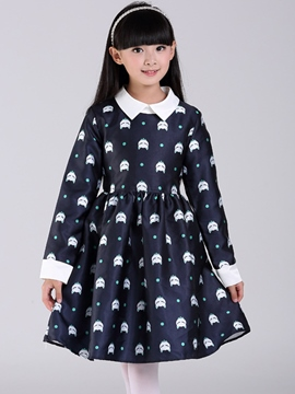 Ericdress Print Lapel Long Sleeve Girls Dress
