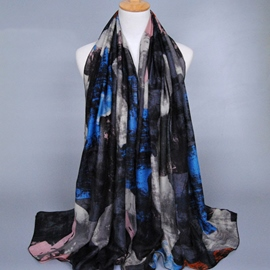 Ericdress Black-Tone Graffiti Printed Women's Voile Scarf