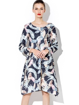 Ericdress Print Asymmetrical Knee-Length Casual Dress
