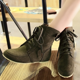 Ericdress Simple Suede Lace up Ankle Boots