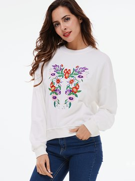 Ericdress Loose Floral Embroidery Hoodie