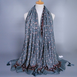 Ericdress Gray Floral Printed Tassels Scarf