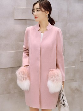 Ericdress Color Block Stand Collar Faux Fur Patchwork Coat