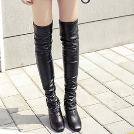 Ericdress PU Square-toe Wedge Heel Thigh High Boots