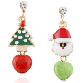 Ericdress Asymmetric Christmas Tree & Santa Claus Earrings