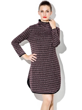 Ericdress Turtleneck Plaid Split Casual Dress