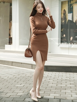 Ericdress Split Turtleneck Knitting Slim Solid Color Sweater Dress
