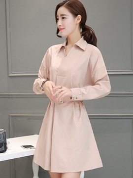 Ericdress Sweet Lapel Hidden Button Belt Casual Dress