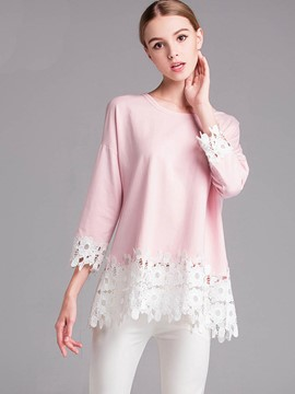 Ericdress Pink Lace Patchwork T-Shirt
