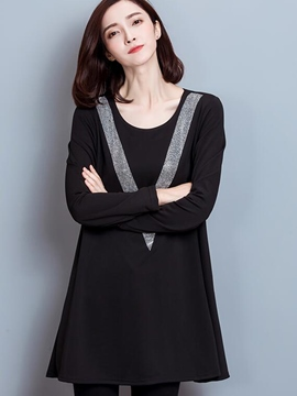 Ericdress V Patchwork Trumpet Loose Casual Dress