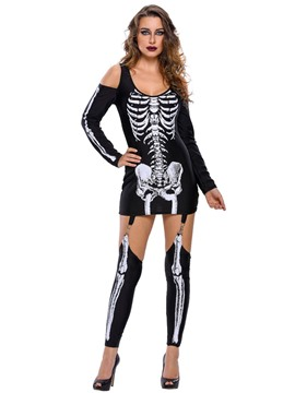Ericdress Strapless Skeleton Print Cosplay Costume