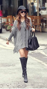 Ericdress Weave V-Neck Batwing Sleeve Sweater Dress