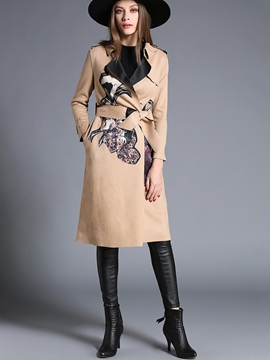 Ericdress Slim Floral Printed Trench Coat