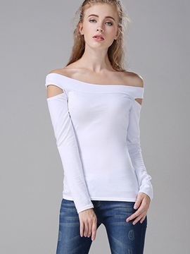 Ericdress Slash Neck Plain Slim T-Shirt