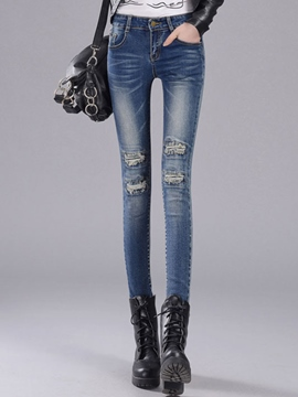 Ericdress Worn Holes Full Length Skinny Jeans