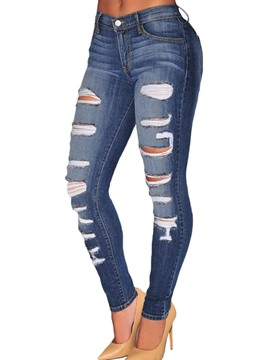 Ericdress Worn Holes Pocket Skinny Jeans