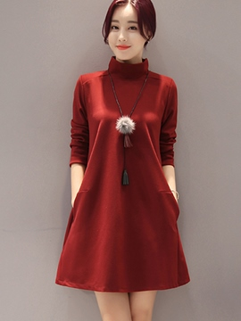 Ericdress Turtleneck Stylelines Pocket Casual Dress