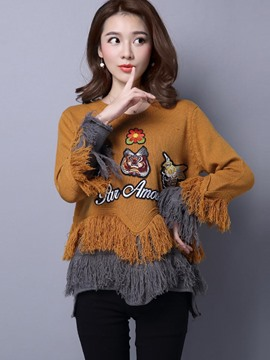 Ericdress Tassel Trim Embroidery Knitwear