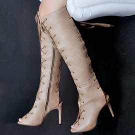 Ericdress Peep Cut Out Lace up Thigh High Boots