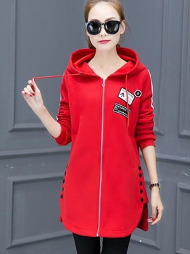 Ericdress Solid Color Straight Button Lace-Up Hoodie
