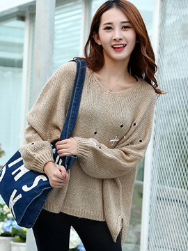 Ericdress Loose Pullover Plain Knitwear