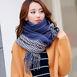 Ericdress Houndstooth Thicken Tassels Scarf