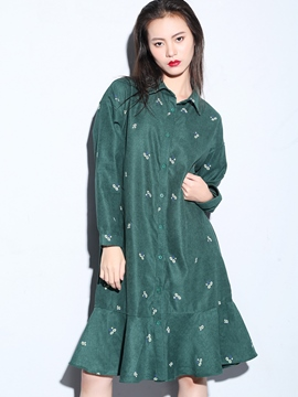 Ericdress Print Button Mermaid Straight Casual Dress