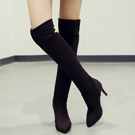 Ericdress Amazing Suede Point Toe Thigh High Boots