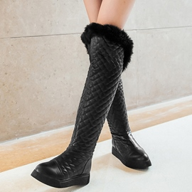 Ericdress Plaid Short Floss Knee High Boots