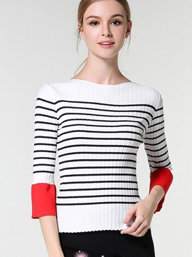 Ericdress Fine Stripe Three-Quarter Knitwear