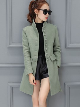 Ericdress Single-Breasted Stand Collar Slim Coat