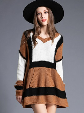 Ericdress V-Neck Strip Patchwork Pleated Sweater Dress