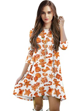 Ericdress Christmas Print Round Collar Casual Dress