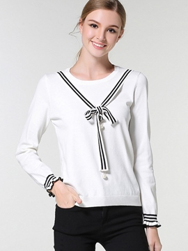 Ericdress Tie Bow Detail Pullover Knitwear