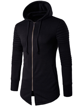 Ericdress Mid-Length Plain Zip Casual Men's Hoodie