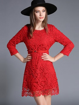 Ericdress Sweet Hollow Belt Lace Dress