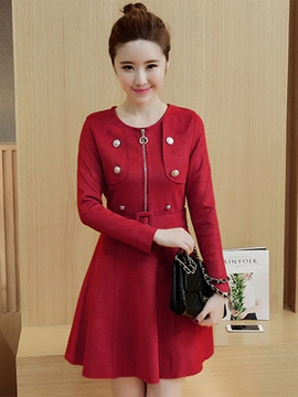 Ericdress Double-Breasted Zipper Belt Casual Dress