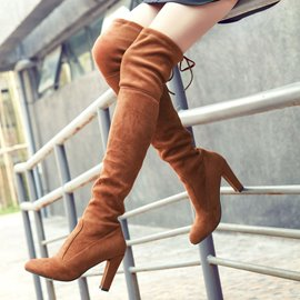 Ericdress Elegant Suede Point Toe Thigh High Boots