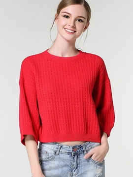 Ericdress Three-Quarter Plain Knitwear