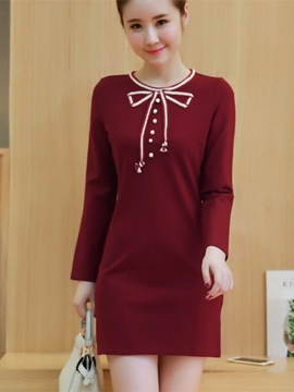 Ericdress Bowknot Patchwork Button Casual Dress