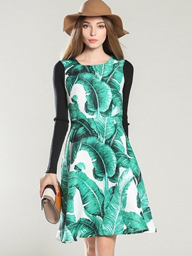 Ericdress Scoop Print Knitting Patchwork Casual Dress