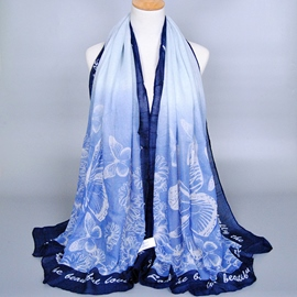 Ericdress Blue Butterfly Printed Women's Voile Scarf