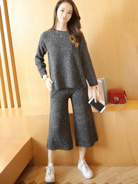 Ericdress Solid Color Sweater Wide Legs Leisure Suit